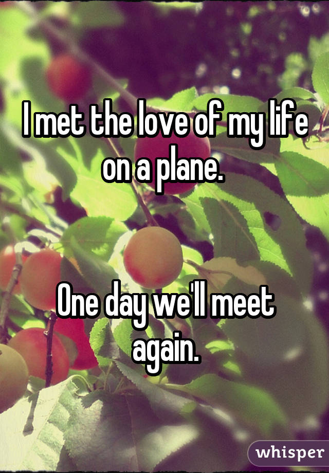I met the love of my life on a plane.    One day we'll meet again.
