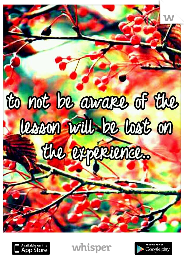 to not be aware of the lesson will be lost on the experience..
