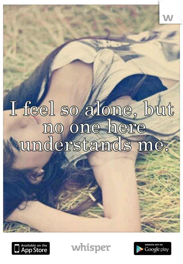 I feel so alone, but no one here understands me.