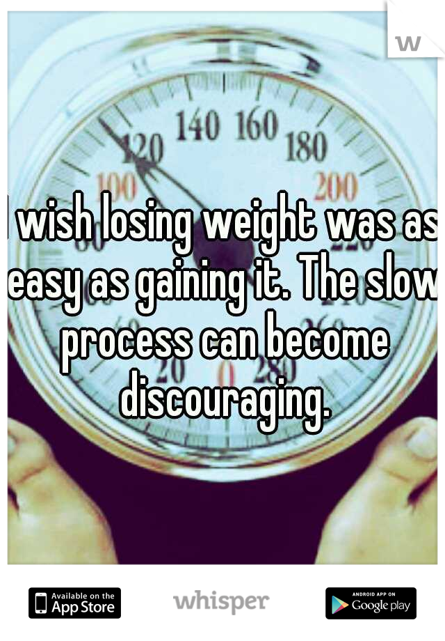 I wish losing weight was as easy as gaining it. The slow process can become discouraging.