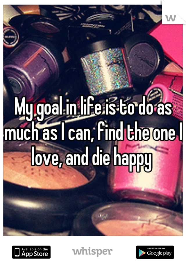 My goal in life is to do as much as I can, find the one I love, and die happy