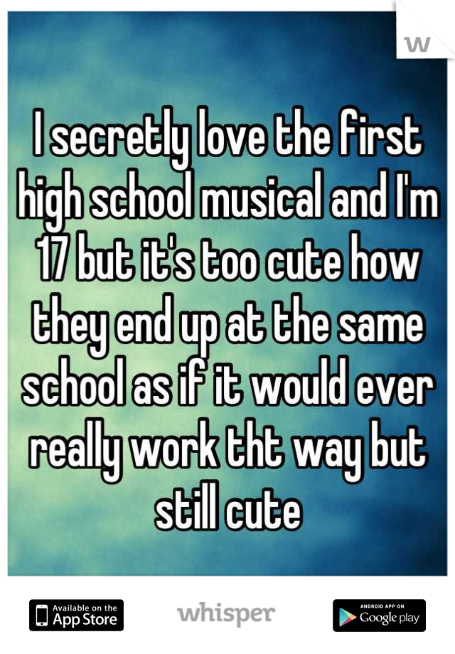 I secretly love the first high school musical and I'm 17 but it's too cute how they end up at the same school as if it would ever really work tht way but still cute