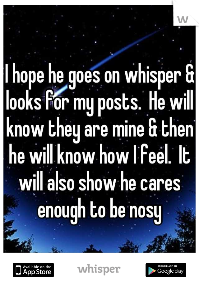 I hope he goes on whisper & looks for my posts.  He will know they are mine & then he will know how I feel.  It will also show he cares enough to be nosy