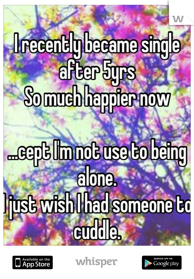 I recently became single after 5yrs So much happier now  ...cept I'm not use to being alone. I just wish I had someone to cuddle.