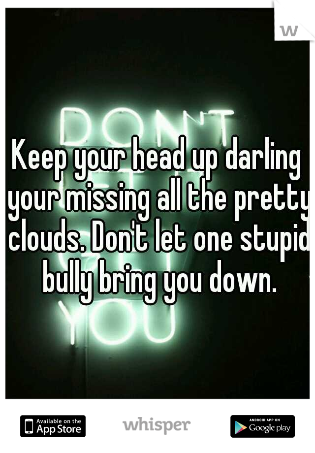 Keep your head up darling your missing all the pretty clouds. Don't let one stupid bully bring you down.