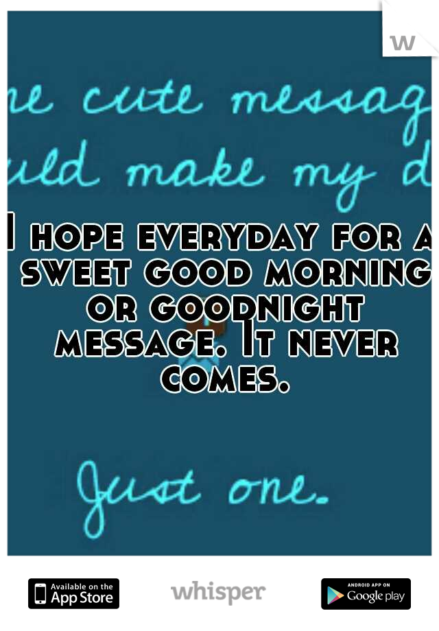 I hope everyday for a sweet good morning or goodnight message. It never comes.