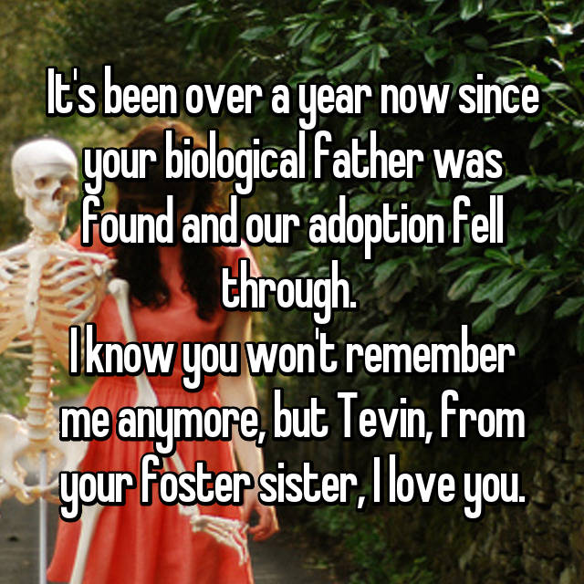 It's been over a year now since your biological father was found and our adoption fell through.  I know you won't remember me anymore, but Tevin, from your foster sister, I love you.
