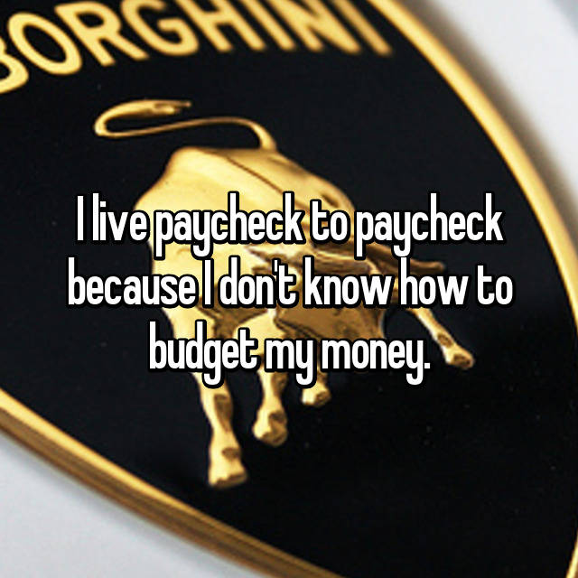 I live paycheck to paycheck because I don't know how to budget my money.
