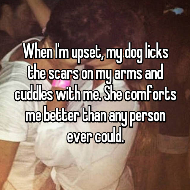 When I'm upset, my dog licks the scars on my arms and cuddles with me. She comforts me better than any person ever could.