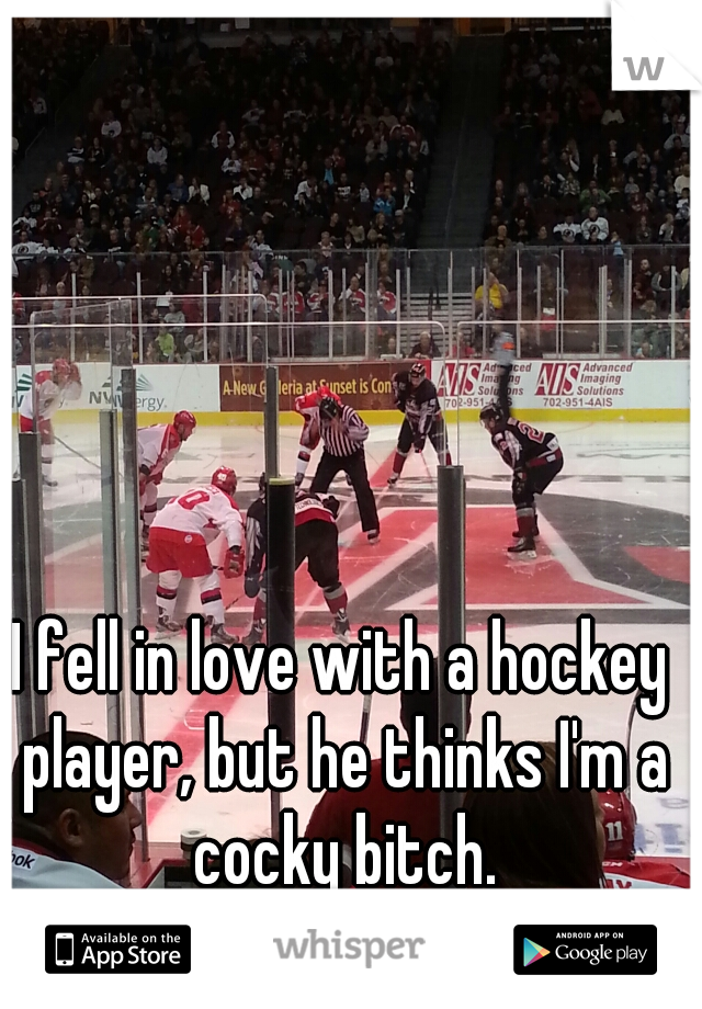 I fell in love with a hockey player, but he thinks I'm a cocky bitch.