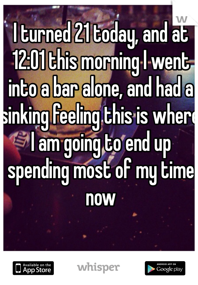 I turned 21 today, and at 12:01 this morning I went into a bar alone, and had a sinking feeling this is where I am going to end up spending most of my time now