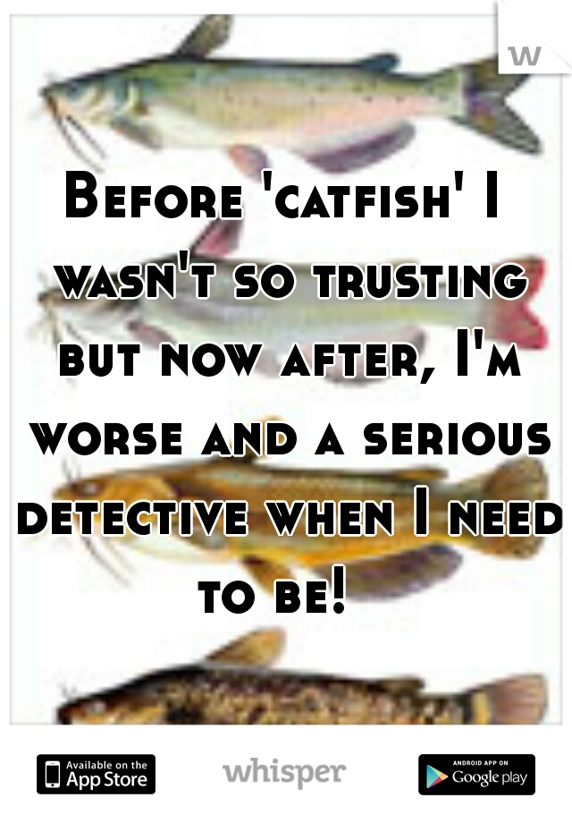 Before 'catfish' I wasn't so trusting but now after, I'm worse and a serious detective when I need to be!