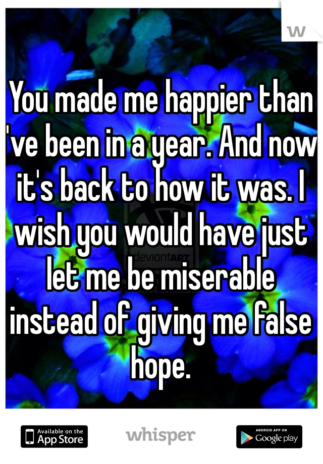 You made me happier than I've been in a year. And now it's back to how it was. I wish you would have just let me be miserable instead of giving me false hope.