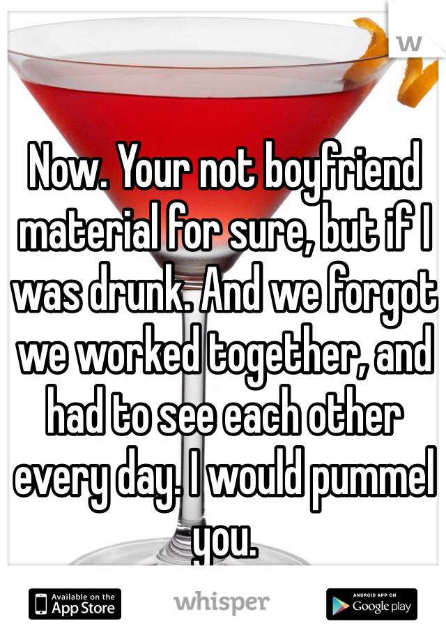 Now. Your not boyfriend material for sure, but if I was drunk. And we forgot we worked together, and had to see each other every day. I would pummel you.