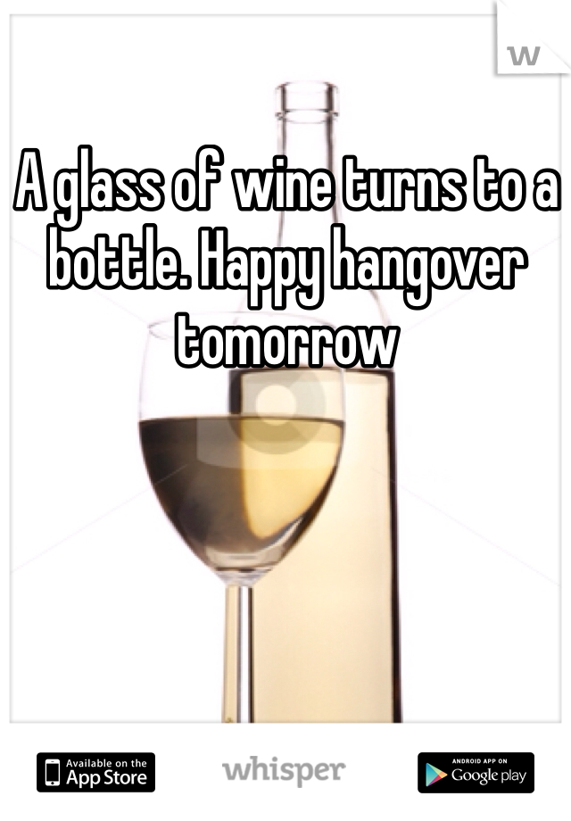 A glass of wine turns to a bottle. Happy hangover tomorrow