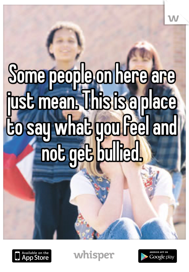 Some people on here are just mean. This is a place to say what you feel and not get bullied.