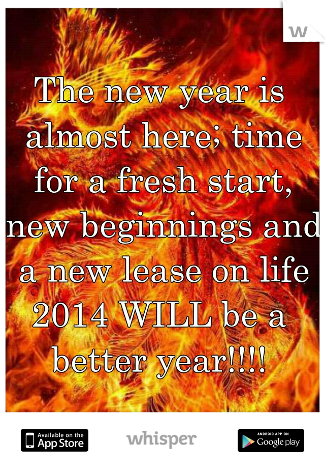 The new year is almost here; time for a fresh start, new beginnings and a new lease on life 2014 WILL be a better year!!!!