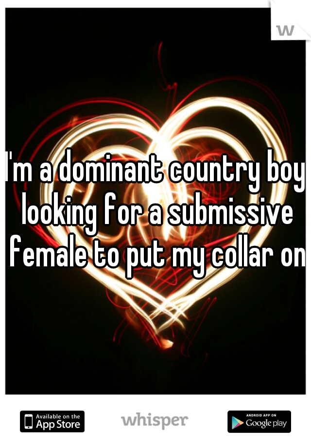 I'm a dominant country boy looking for a submissive female to put my collar on