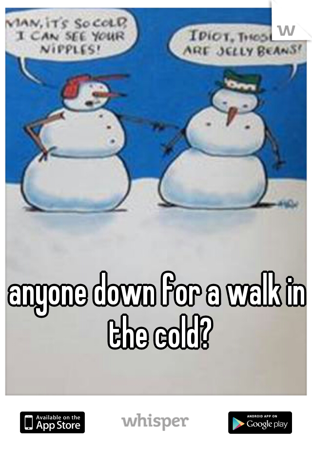 anyone down for a walk in the cold?