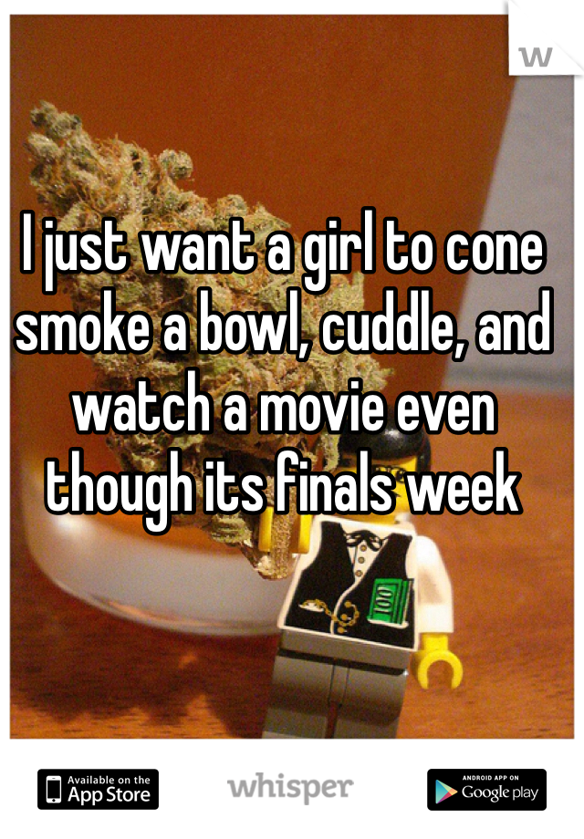 I just want a girl to cone smoke a bowl, cuddle, and watch a movie even though its finals week