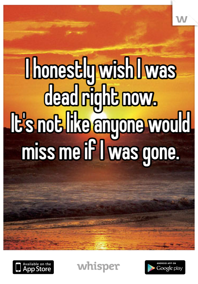 I honestly wish I was  dead right now.  It's not like anyone would miss me if I was gone.