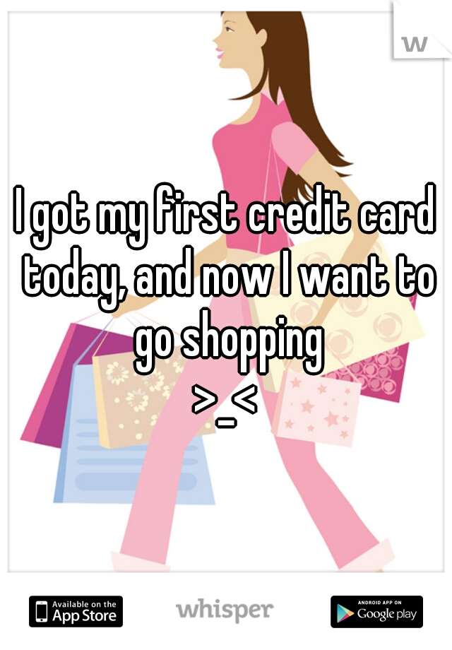 I got my first credit card today, and now I want to go shopping >_<