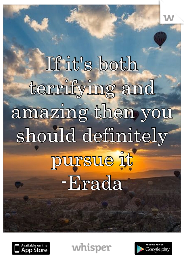 If it's both terrifying and amazing then you should definitely pursue it -Erada