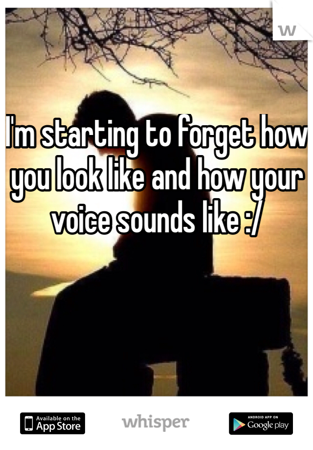 I'm starting to forget how you look like and how your voice sounds like :/