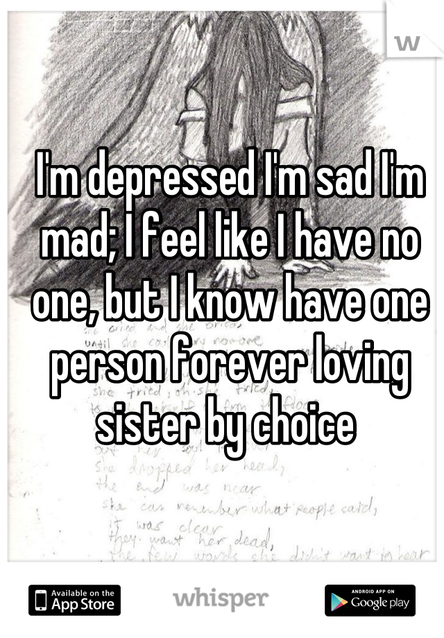 I'm depressed I'm sad I'm mad; I feel like I have no one, but I know have one person forever loving sister by choice