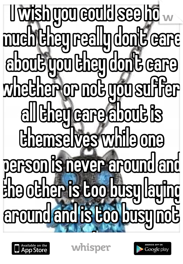 I wish you could see how much they really don't care about you they don't care whether or not you suffer all they care about is themselves while one person is never around and the other is too busy laying around and is too busy not caring.