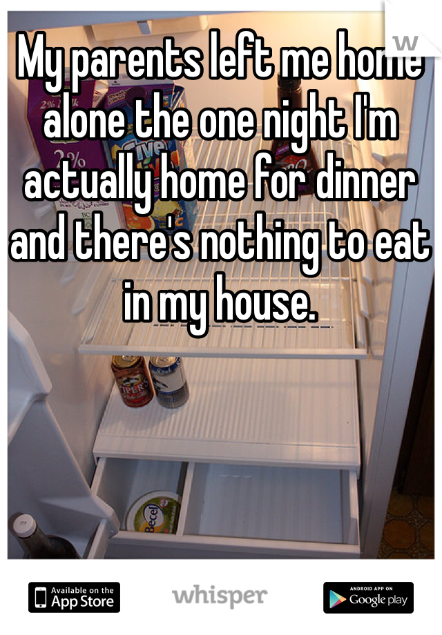 My parents left me home alone the one night I'm actually home for dinner and there's nothing to eat in my house.