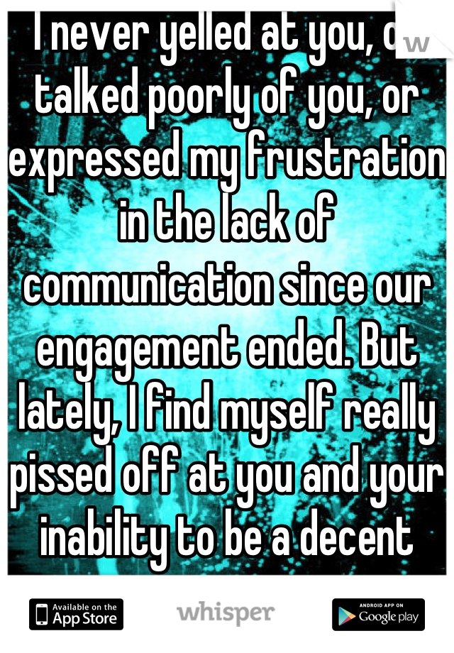 I never yelled at you, or talked poorly of you, or expressed my frustration in the lack of communication since our engagement ended. But lately, I find myself really pissed off at you and your inability to be a decent person.