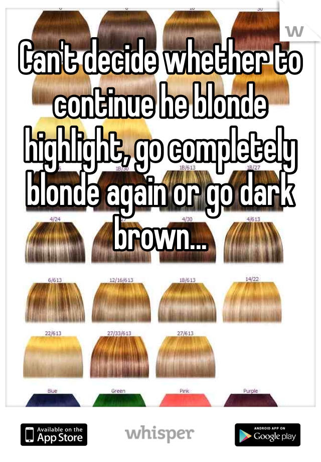 Can't decide whether to continue he blonde highlight, go completely blonde again or go dark brown...