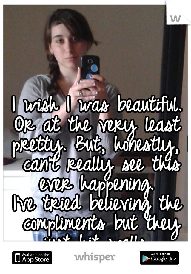 I wish I was beautiful. Or at the very least pretty. But, honestly, I can't really see this ever happening.  I've tried believing the compliments but they just hit walls...