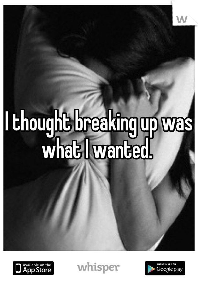 I thought breaking up was what I wanted.