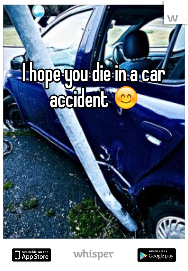 I hope you die in a car accident 😊