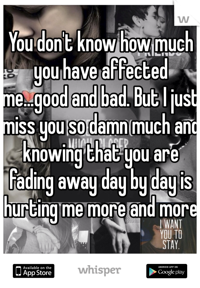 You don't know how much you have affected me...good and bad. But I just miss you so damn much and knowing that you are fading away day by day is hurting me more and more