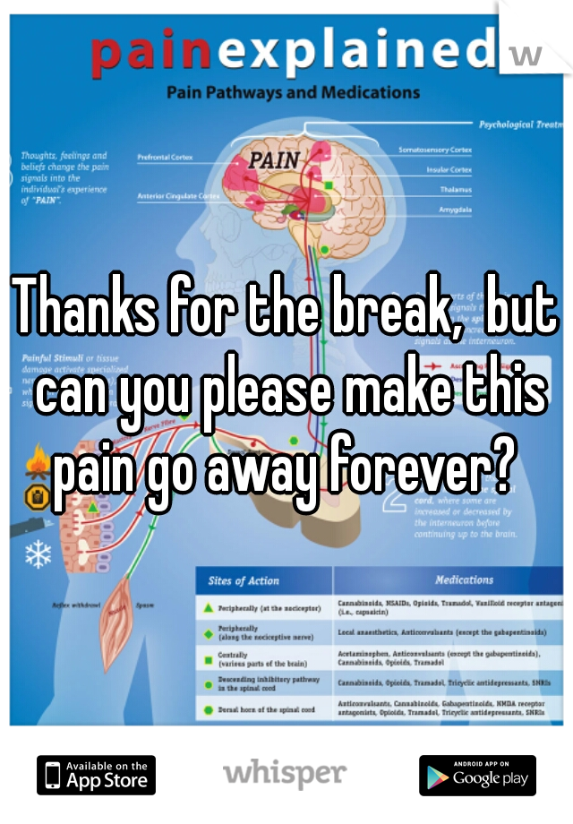 Thanks for the break,  but can you please make this pain go away forever?