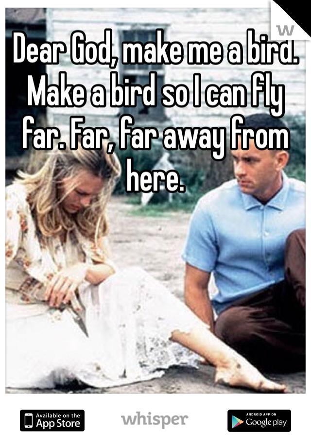 Dear God, make me a bird. Make a bird so I can fly far. Far, far away from here.