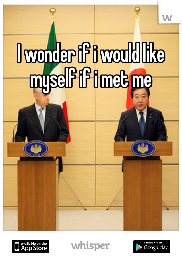 I wonder if i would like myself if i met me