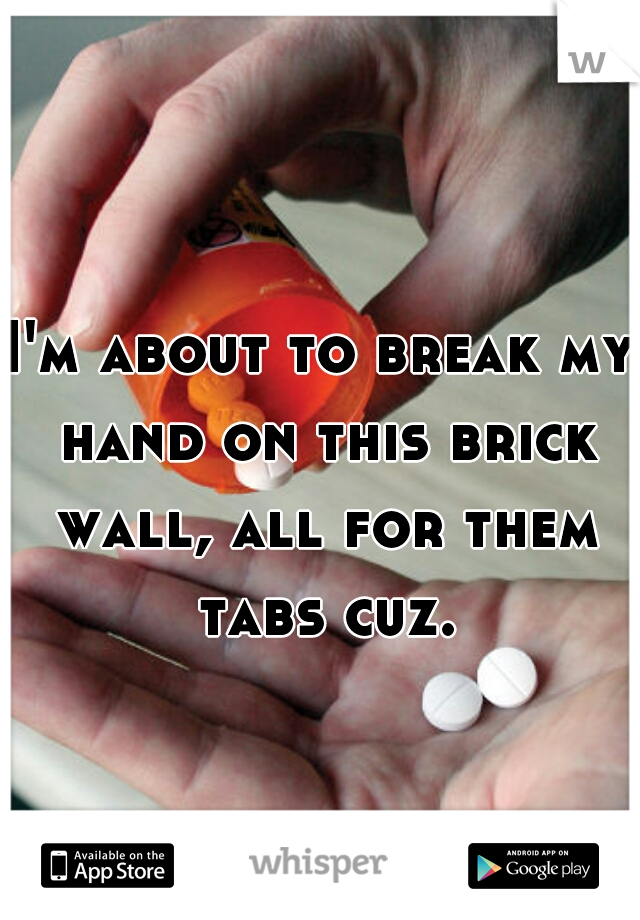 I'm about to break my hand on this brick wall, all for them tabs cuz.
