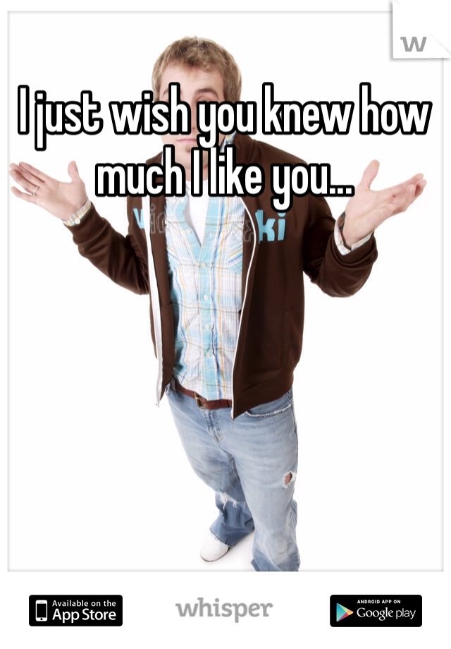 I just wish you knew how much I like you...