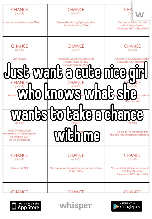 Just want a cute nice girl who knows what she wants to take a chance with me