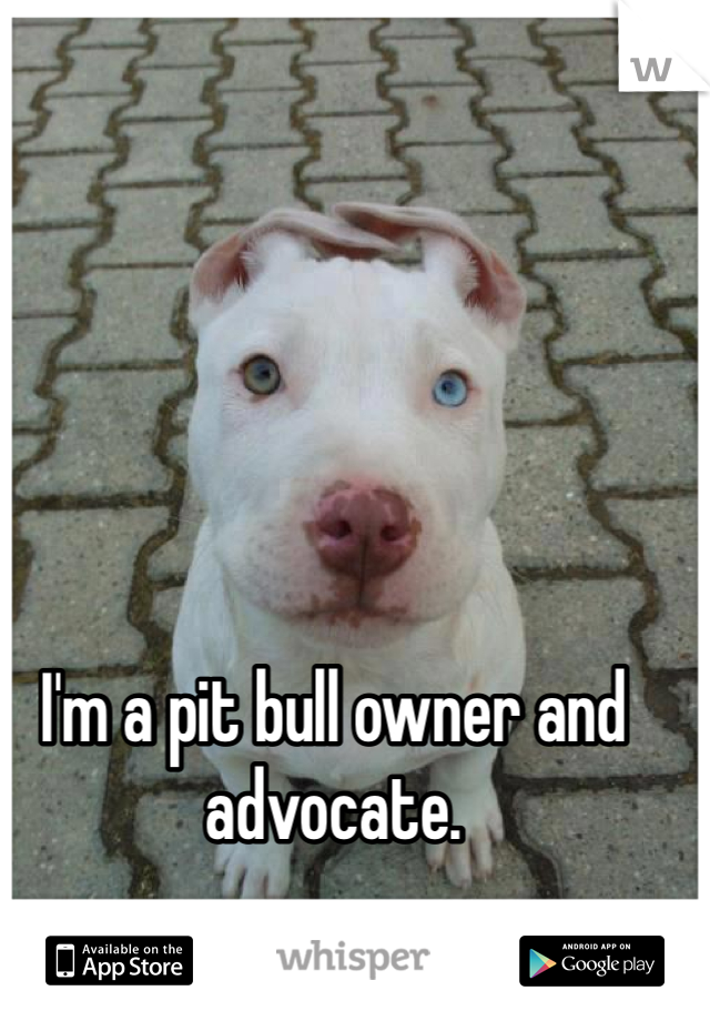 I'm a pit bull owner and advocate.