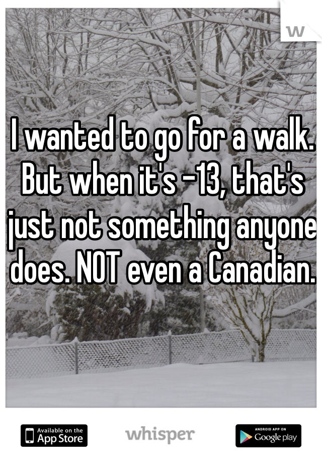 I wanted to go for a walk. But when it's -13, that's just not something anyone does. NOT even a Canadian.