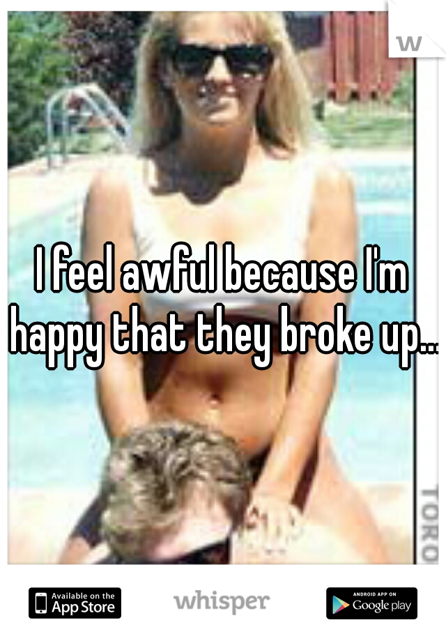 I feel awful because I'm happy that they broke up....