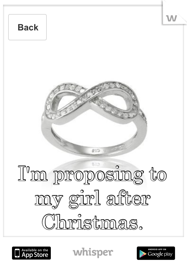 I'm proposing to my girl after Christmas.