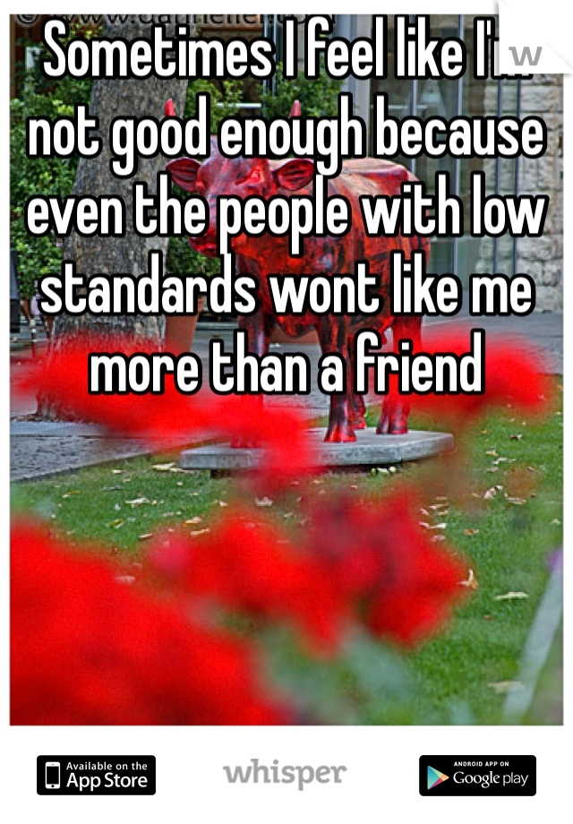 Sometimes I feel like I'm not good enough because even the people with low standards wont like me more than a friend
