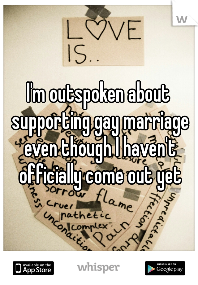 I'm outspoken about supporting gay marriage even though I haven't officially come out yet