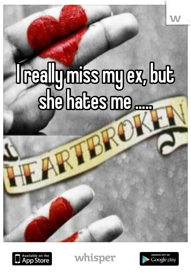 I really miss my ex, but she hates me .....